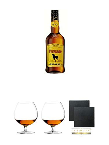 Osborne Veterano Solera 1,0 Liter + Cognacglas/Schwenker Stölzle 1 Stück - 103/18 + Cognacglas/Schwenker Stölzle 1 Stück - 103/18 + Schiefer Glasuntersetzer eckig ca. 9,5 cm Ø 2 Stück