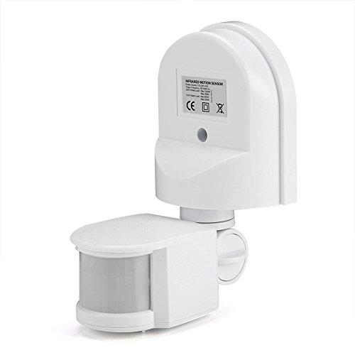 Interruptor de Sensor PIR, Interruptor de Bombilla de Luz de Sensor de Infrarrojos de Movimiento Humano Ajustable Impermeable IP65, Interruptor de Iluminación del Hogar(Blanco)
