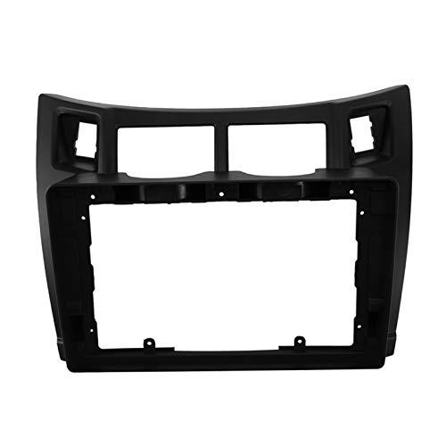 CLEIO Kit de reparación de radio de coche de 9 pulgadas, kit de instalación de marco de DVD de 2 DIN para Toyota Yaris 2005-2011 (nombre del color: negro)