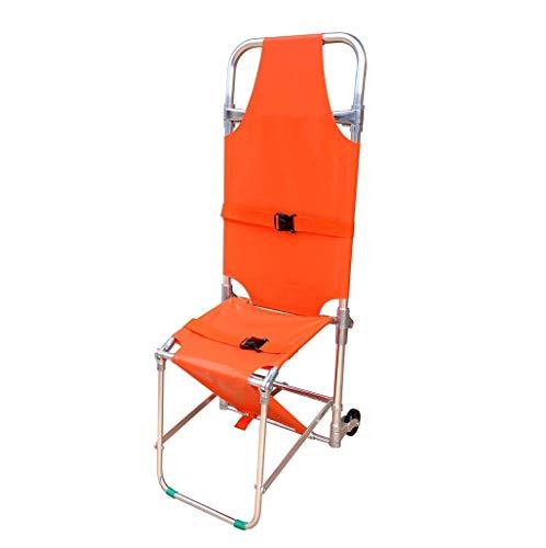 Silla de escalera de emergencia-Camilla de rescate de emergencia Camilla de silla plegable de aluminio Silla de escalera de evacuación para bomberos de ambulancia con 2 pies de apoyo y 2 rueda