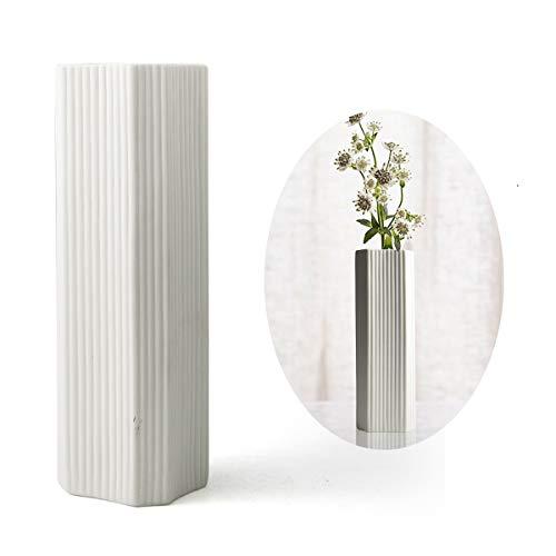 PUDDING CABIN 11' Flower Vase Simple White Vases for Home Decor