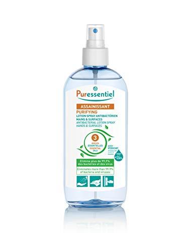 Puressentiel - Assainissant - Lotion Spray Antibactérien aux 3 Huiles Essentielles - Elimine 99,9% des bactéries et des virus - 250 ml