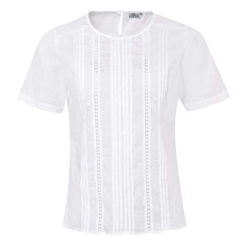 Hess Damen Trachten-Mode Trachtenbluse Luise in Weiß traditionell, Größe:38, Farbe:Weiß