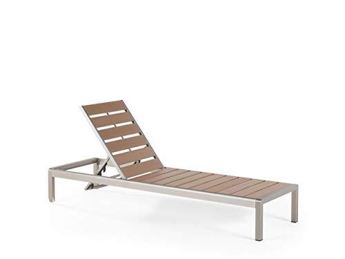 Beliani Praktischee Gartenliege Kunstholz verstellbare Rückenlehne braun Nardo