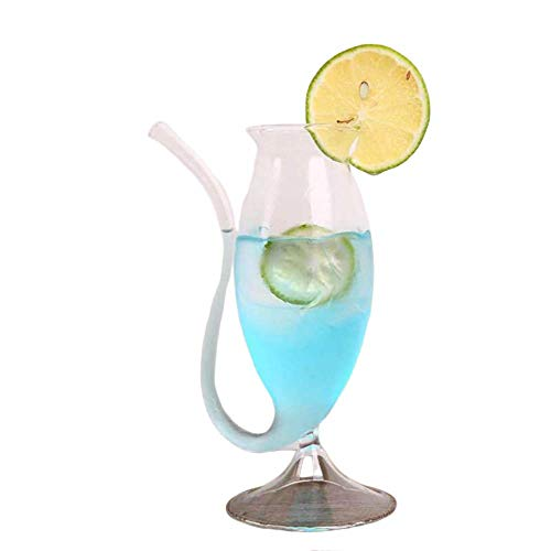Wine Whiskey Glass Heat Resistant Glass Sucking Juice Milk Cup Tea Wine Cup With Drinking Tube Straw (A)