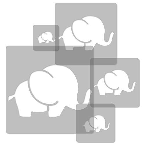 5 Stück wiederverwendbare Kunststoff-Schablonen // ELEFANT // 34 x 34 cm bis 9 x 9 cm // Kinderzimmer-Deko // Kinderzimmer-Vorlage