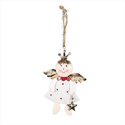 lingzhuo-shop smeedijzeren engelpop ornamenten kleine fee styling met lanyard hangen aan de kerstboom vensterbank Kerstmis thuis vakantie decoratie ornamenten (OPP)