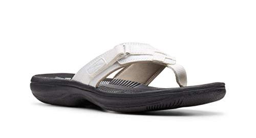 Clarks Women's Breeze Sea Flip-Flop White Limited Edition Black, 10 M US