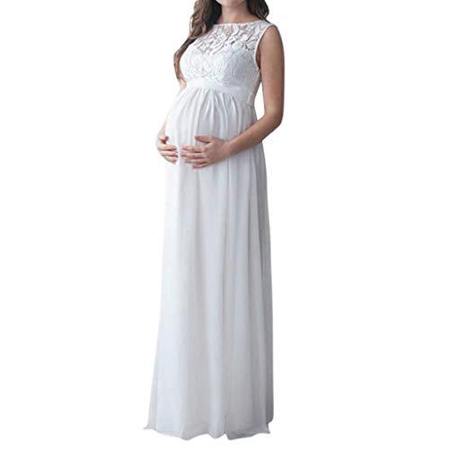 Vestidos Premama Fotografia Moda 2019 SHOBDW Vestidos Mujer Verano Color Sólido Ropa Premamá Vestidos Encaje Vestido de Maternidad de Fiesta Vestidos Premama Largos Talla Grande XXL(Blanco,XXL)