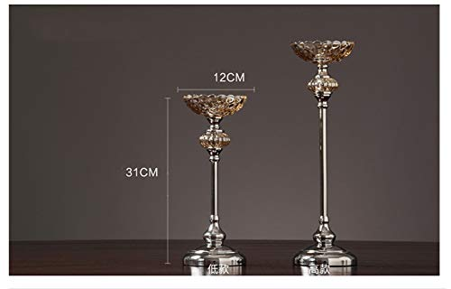 Bougeoirs en Argent piliers rétro Cristal Verre Western Bougie Chandelier hôtel Club House modèle décoration décoration