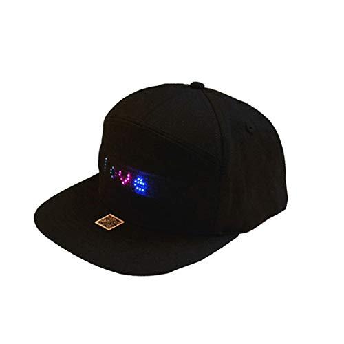 QKFON Gorra LED LED de señal Sombrero LED Magia Bluetooth Smart Hat Hip Hop Street Dance Party Parade Senderismo Correr Nocturno Gorra de Pesca Regalo Deportes Disfraces de Cumpleaños