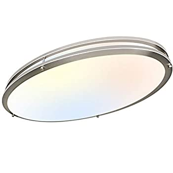 Hykolity 32 Inch Oval LED Ceiling Light 35W [300W Equivalent] 3100LM,3000K/4000K/5000K Switch BN Finish Dimmable Saturn Flushmount Ceiling Light for Kitchens Living Room,Closets