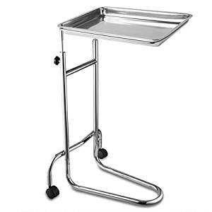19x13x1 Inches Mayo Instrument Stand Adjustable Height w/ Removable Stainless Steel Tray Double Post for Professional Medical Supplies Hospital Patient
