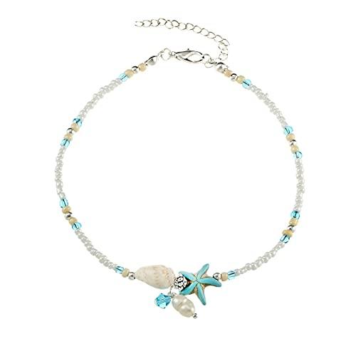 LPZW 2021 Concha Tobletle Beads Starfish Toklets para Mujer Moda Vintage Declaración de Sandalia Hecha A Mano Pulsera Pie Foot Boho Jewelry (Metal Color : Silver Plated)