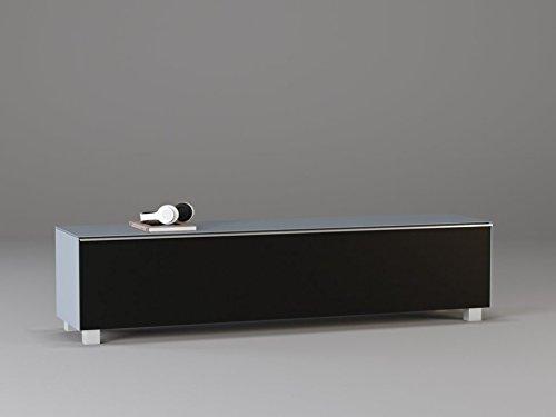 TV-Board Soundboard MAJA Soundconcept verschiedene Farben mit Akustikstoff schwarz in 140x43x42cm oder 180x43x42cm (180, Glas marmorgrau)
