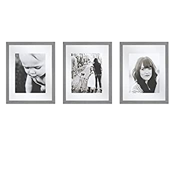 Sheffield Home Decor Collection- 3 Piece Picture Frame Set Gallery Set 11x14in Matted to 8x10in  Grey