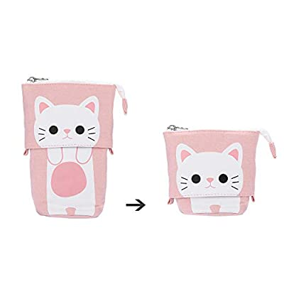 Pencil Case Toiletry Bag, Diadia Foldable Portable Small Handy Waterproof Travel Hanging Organizer Train Case Pencil Pen Cat Eye Eyelashes Purse for Boys Girls (Pink Cat) from Diadia