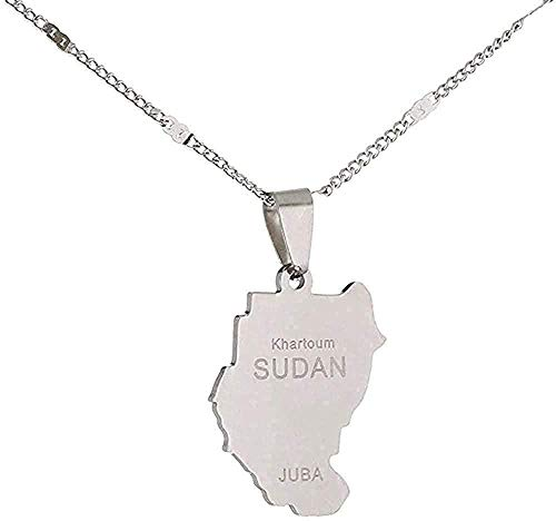 Aluyouqi Co.,ltd Collar Collar Collar St Steel Old Sudan Collares Pendientes Color Plata Mapa De Sudán Joyas De Juba