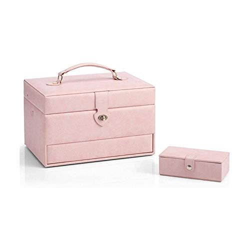 WHZG Caja joyero Cuero sintético con pequeño Estuche de Viaje, Regalo para niñas o Mujeres 2 en 1 Caja de joyería Enorme Organizador Joyas