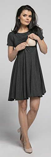 Happy Mama Damen Umstands Stillkleid Midi Schaukel Kleid Kurzarm.084p (Graphit Melange) - 6