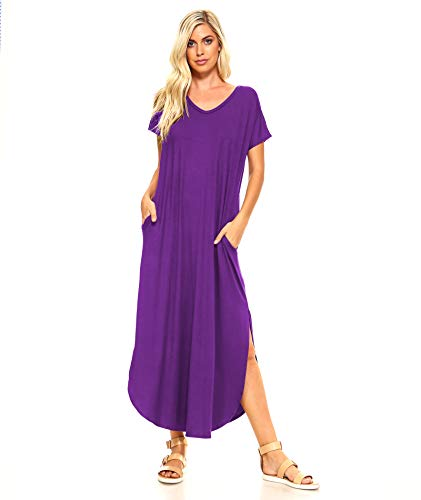 Isaac Liev Women's Short Sleeve Shirt Maxi Dress with Pockets & Side Slits (Large, Eggplant)