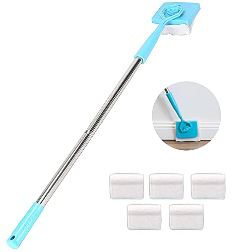 Baseboard Cleaner Tool with Handle, 5 Reusable Cleaning Pads, No-Bending Mop Baseboard Cleaner Tool Long Handle Adjustable Baseboard Molding Tool for Bathroom Microfiber Cleaning