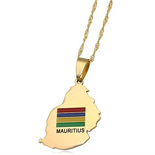 Kkoqmw Mauritius Karte Mauritius Flagge Edelstahl anhänger Halskette Landkarte schmuck