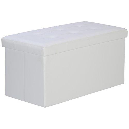 Levivo faltbare gepolsterte Sitzbank mit Aufbewahrungsbox, belastbar bis 300 kg, ca. 77 x 38 x 38 cm, Weiß