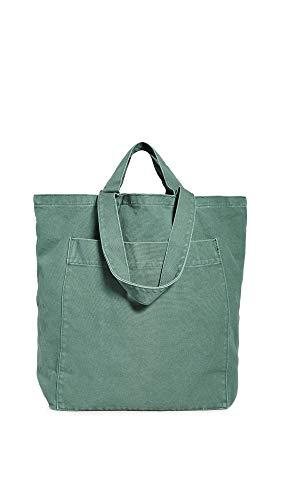 BAGGU Denim Giant Pocket Tote, Oversized Stylish Canvas Bag for Easy Carrying, Washed Eucalyptus