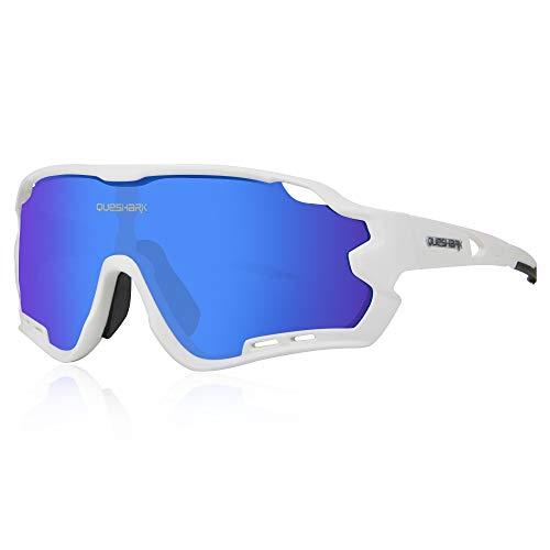 Queshark Sport Sonnenbrille Fahrradbrille Sportbrille mit UV400 4 Wechselgläser für Outdooraktivitäten wie Radfahren Laufen Klettern Autofahren Laufen Angeln Golf Unisex