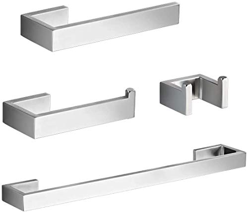 BAGNOLUX Bathroom Hardware Accessories Set 4-Piece Brushed Stainless Steel 24 inch Towel Bar+Toilet Paper Holder + Hand Towel Rod +Towel Hook (Brushed Stainless Steel, 24 inch)