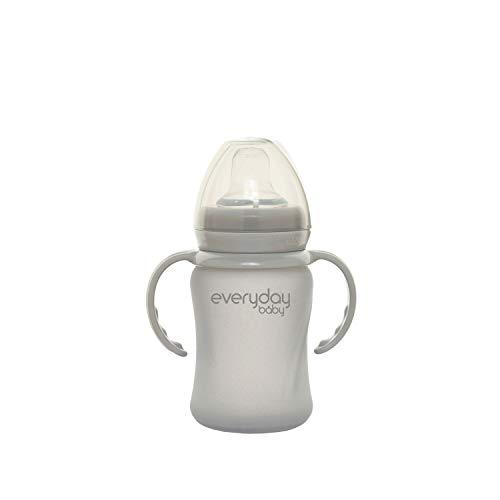 Everyday Baby Healthy + Vaso de vidrio para beber Sippy Cup, 6 meses, Funda de silicona, Incluye boquilla de silicona, Asas para beber, Tapa protectora, 150 ml, Quiet Grey (Gris), 30832 0303 01