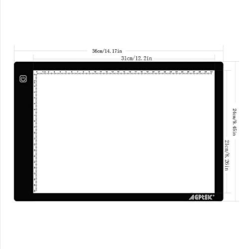 AGPTEK Artcraft Tracing Light Box Power Cable Dimmable Brightness Tatoo Pad Aniamtion, Sketching, Designing, X-ray Viewing W/USB Adapter (PSE Approval)