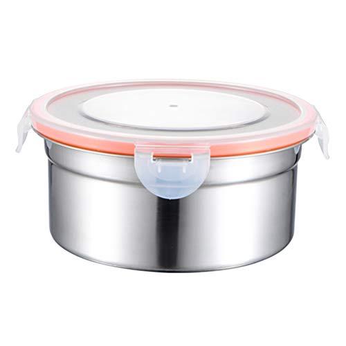 YARNOW Caja De Almacenamiento Redonda De Acero Inoxidable con Tapa Y Caja De Almacenamiento Sellada Bento para Exteriores (Color Natural 900 Ml)