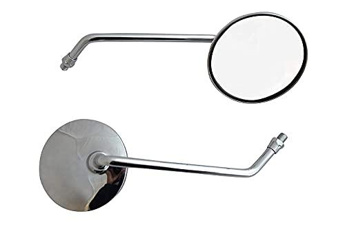 Coppia Rotondo Cromato Scooter Motorino Specchietti - Universale - 8mm