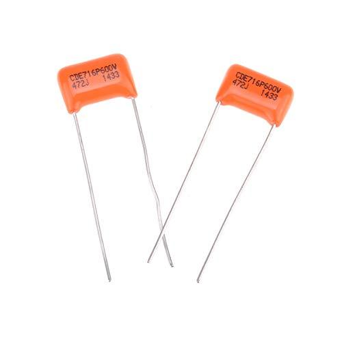 CDE Sprague Orange Drop Condensador Tono Capacitor Polipropileno .0047uF 716P 472J 600V para Guitarra Eléctrica o Bajo (Set de 2)