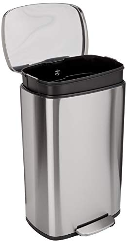 Amazon Basics 50 Liter / 13.2 Gallon Soft-Close Trash Can with Foot Pedal - Stainless Steel, Satin Nickel Finish