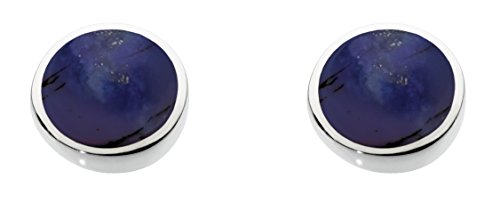 Dew Sterling Silver and Lapis Shell Round Stud Earrings
