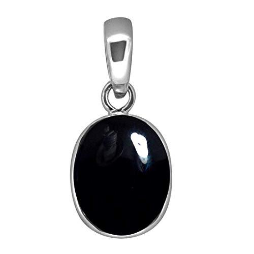 Colgante de ónix negro real de 3 quilates, forma ovalada, piedra preciosa astrológica de plata de ley con colgante de piedra natal