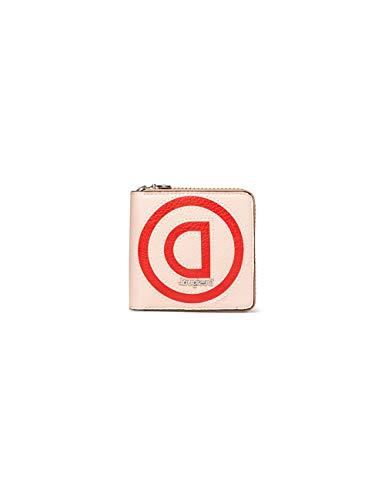 Desigual Mone_Logo Zip Square, Mini-Monedero de Patch en Logomanía para Mujer, Beige (Beige), 2x10x10 cm (B x H x T)