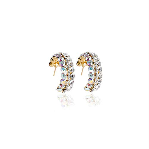 Women's Silver Hoop Earrings, With Multi-layer Sparkling Cubic Zirconia Diamonds C-shaped Sterling Silver Earrings For Women, Fashionable And Light Luxury Jewelry Gift