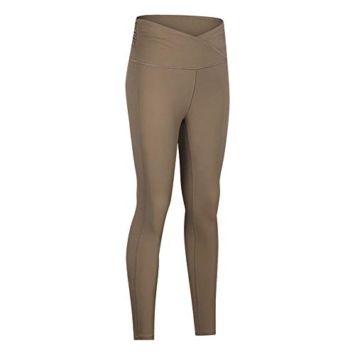 WY1688 Tights Damen Leggings Lang Yogahose High Waist Mit Bandage Sport Leggings Damen Lang Sporthose Sport Tights Laufhose B-Gray XL