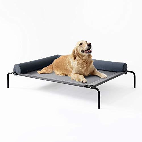 Love's cabin Bolster Elevated Dog Bed, 49in Pet Dog Beds for Extra Large Medium Small Dogs – Portable Dog Cot for Camping or Beach, Durable Fall Frame Raised Dog Bed with Breathable & Removable Mesh