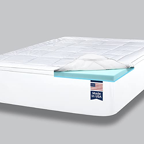 ViscoSoft 4 Inch Pillow Top Memory Foam Mattress Topper Queen - Made in USA - Serene Lux Dual Layer...