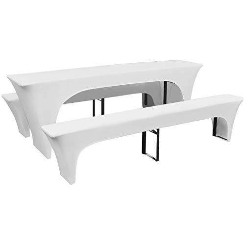 Galapara Biertischhussen-Set 3 TLG für Bierzeltgarnitur - Tisch und Bänke Stretch-Hussen, Stretch-Bezug bi-elastische Husse, Moderne Abdeckung - Weiß 220 x 70 x 80 cm
