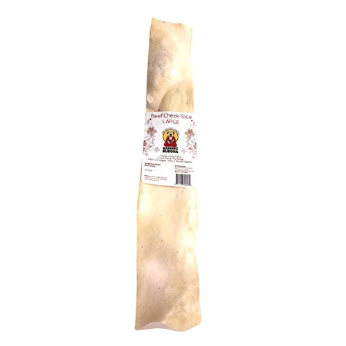 Barking Buddha Beef Cheek Slices - Extra Thick - All Natural - No Additives Gluten Free - Premium Dog Chews   Large 10' - 12   12 Pack