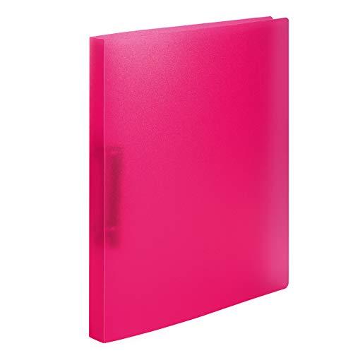 HERMA 19164 Ringbuch DIN A4 Transluzent Pink, 2 Ringe, 25 mm breit, schmaler transparenter Ringbuchordner aus stabilem Kunststoff, 1 Ringbuchmappe