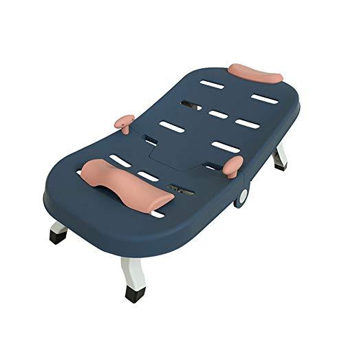 Lamcomt Champú reclinable para niños, plegable azul, ajustable, para niños, silla plegable