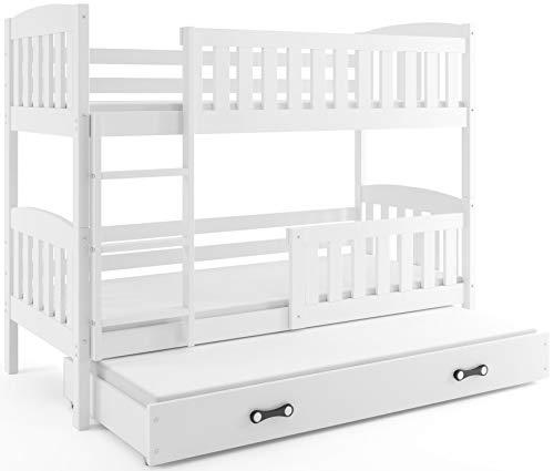 Interbeds Etagenbett QUBA fur DREI Kinder 200x90cm Farbe: WEIß; mit Lattenroste und Matratzen (weiß + weiße Schublade)
