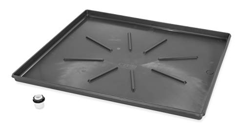 Camco 20784 Low Profile Washing Machine Drain Pan with PVC Fitting, 30 ½-Inch x 34 ½-Inch, Graphite - Protects Your Floors from Washing Machine Leaks - Easy to Use